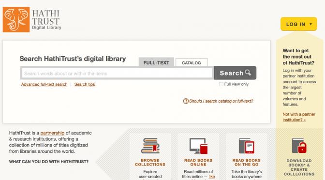Tutoriel: télécharger des volumes numérisés sur HathiTrust