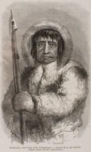 Kalutunah, chef des tribus esquimaux. Edouard Charton, Le tour du monde, nouveau journal des voyages  Paris : Hachette, 1868.  Lyon 1, Musée d'anatomie
