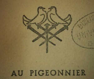 Marque de l'éditeur. Buzzini Louis. Elémir de Bourges, histoire d'un grand livre : « la Nef ». Éd. du Pigeonnier, 1951. Cote 075039