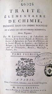 Lavoisier, Antoine-Laurent. Traité élémentaire de chimie. Paris : Cuchet, 1789. Cote 40924
