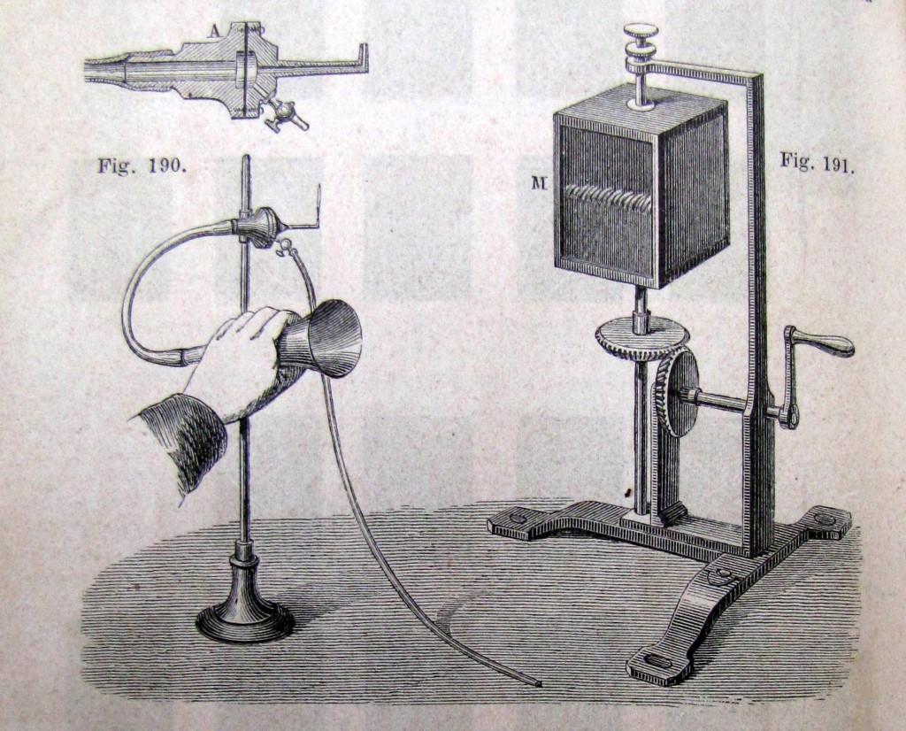 Flammes manométriques de Koening.Ganot, Adolphe.Traité de physique .Paris: L'Auteur-Editeur, 1876. fig.228. Cote 38.056