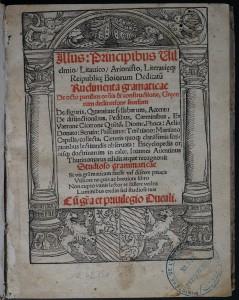 Page de titre. Johannes Aventinus, Rudimenta grammaticae…, 1517. Cote : 1R 42750