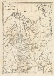 Carte de la Russie occidentale, extraite de l'ouvrage Histoire de Russie par M.Levesque. Tome quatrième. 1782. Fonds slaves, cote FSJ B2b