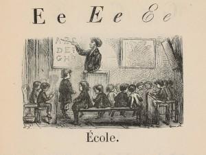 Scène de classe illustrant le mot École à la lettre E, image extraite de Alphabet et syllabaire [suivi] du Catalogue de la librairie agricole de la maison agricole par Edmond Douay (1868). Collections Éducation, cote MS 90231
