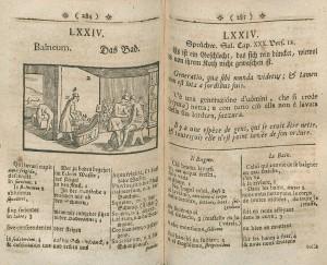 Chapitre 74 de l'éd. quadrilingue allemand-latin-italien-français de 1760, chez Johannes Andreas Endter à Nuremberg. Cote : R2 22576