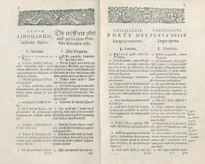Chapitre 1 de l'éd. quadrilingue latin-allemand-français-italien de 1644, chez Elzevier à Leyde. Cote : 1R 84978