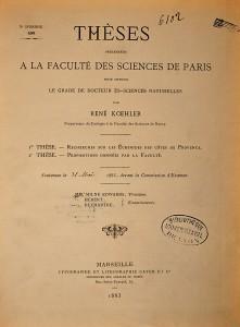 Page de titre Koehler, René. Recherche sur les Echinides des côtes de Provence.