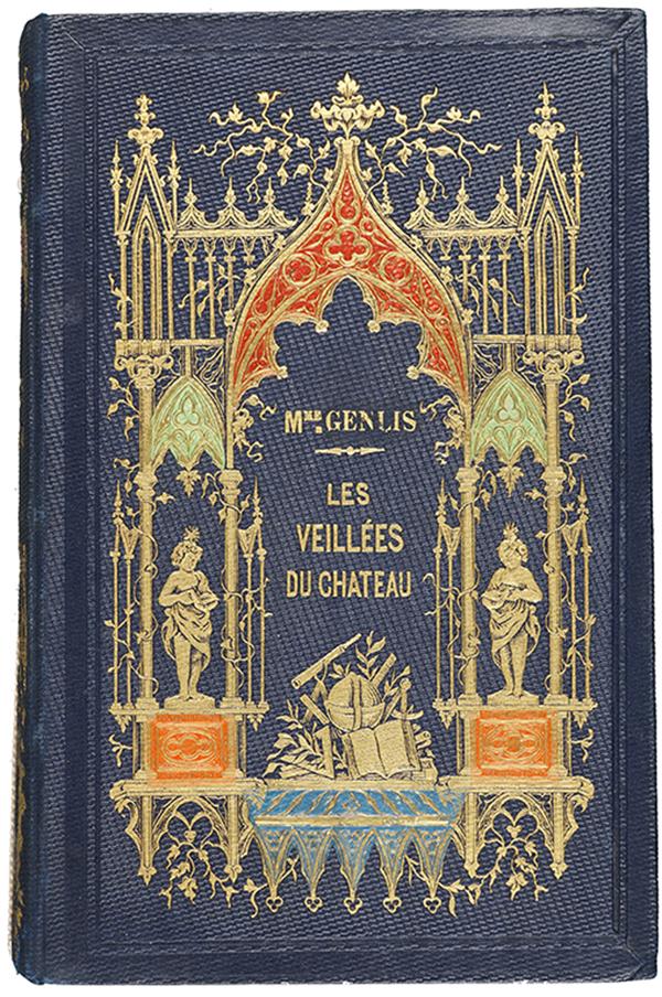 Couverture en percaline  bleu nuit,  décor à la  cathédrale réalisé à l'aide d'une plaque à dorer : Mme de Genlis. Les veillées du château. Paris : Belin-Leprieur, 1845. Cote 2RA 1907