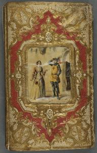 Papier de couverture boursoufflé, contour irrégulier du cadre contenant le médaillon : M. d'Exauvillez. Histoire de Godefroy de Bouillon. Tours : Mame, 1856. Cote 2RB 227
