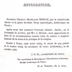 Exemple d'approbation  accordé à l'éditeur Mame pour l'ouvrage suivant : Bernier, L. <em>Amélie ou le triomphe de la piété</em>. Tours : A. Mame & Cie, 1844. Cote 2RB 2275.