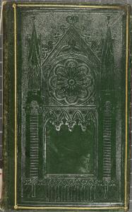Reliure estampée à froid à la cathédrale.Flesselles (Mme de) Les jeunes voyageurs en France. 1834. Cote : 2RA 3891