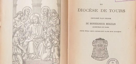 Exemple de catéchisme diocésain, le Catéchisme du diocèse de Tours, publié en 1891 sous la supervision de l'archevêque de Tours (et futur cardinal) Guillaume Meignan (1817-1896).
