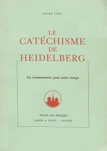 Le Catéchisme de Heidelberg, dans une édition de 1959, avec un commentaire du pasteur André Péry. Il adopte un plan en trois parties: «La misère de l'homme»; «La délivrance de l'homme»; «La reconnaissance de l'homme».