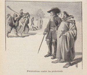 Illustration extraite des Leçons de morale d'Albert Bayet (1902). L'Eglise est également associée à l'intolérance religieuse. Une illustration fréquemment employée est celle des Dragonnades, persécutions antiprotestantes faisant suite à la révocation de l'Edit de Nantes (1685) sous Louis XIV. De manière générale, la Réforme protestante du XVIe siècle est présentée non comme une « hérésie » plus ou moins funeste (point de vue catholique à l'époque), mais comme une tentative de réforme de l'Eglise.