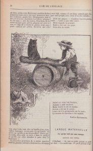 Kergomard, Pauline. Leçon de lecture. In L'Ami de l'enfance, 5e série, 5e année, n° 2, 15 octobre 1885. Page 28