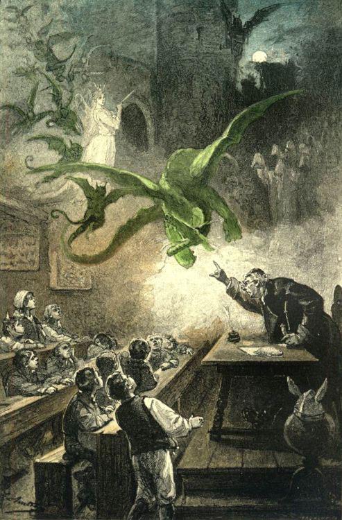 Jules Verne, Le Château des Carpathes, Paris, J. Hetzel et Cie, 1892,  « Cela s'apprenait à l'école du magister Hermod », p. 16, gravure hors texte – illustration de Léon Benett.