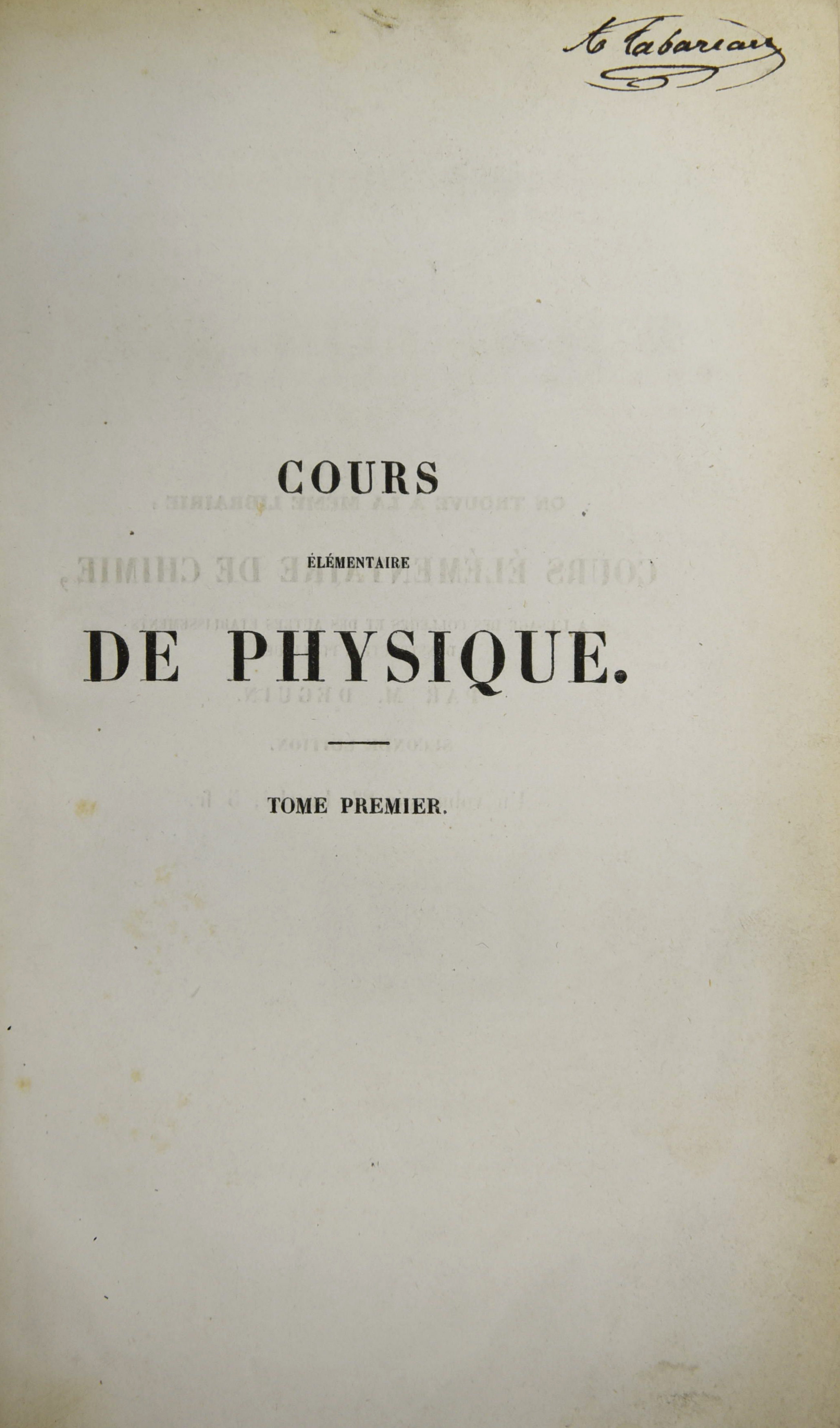 Cours elementaire de physique 1848_signature
