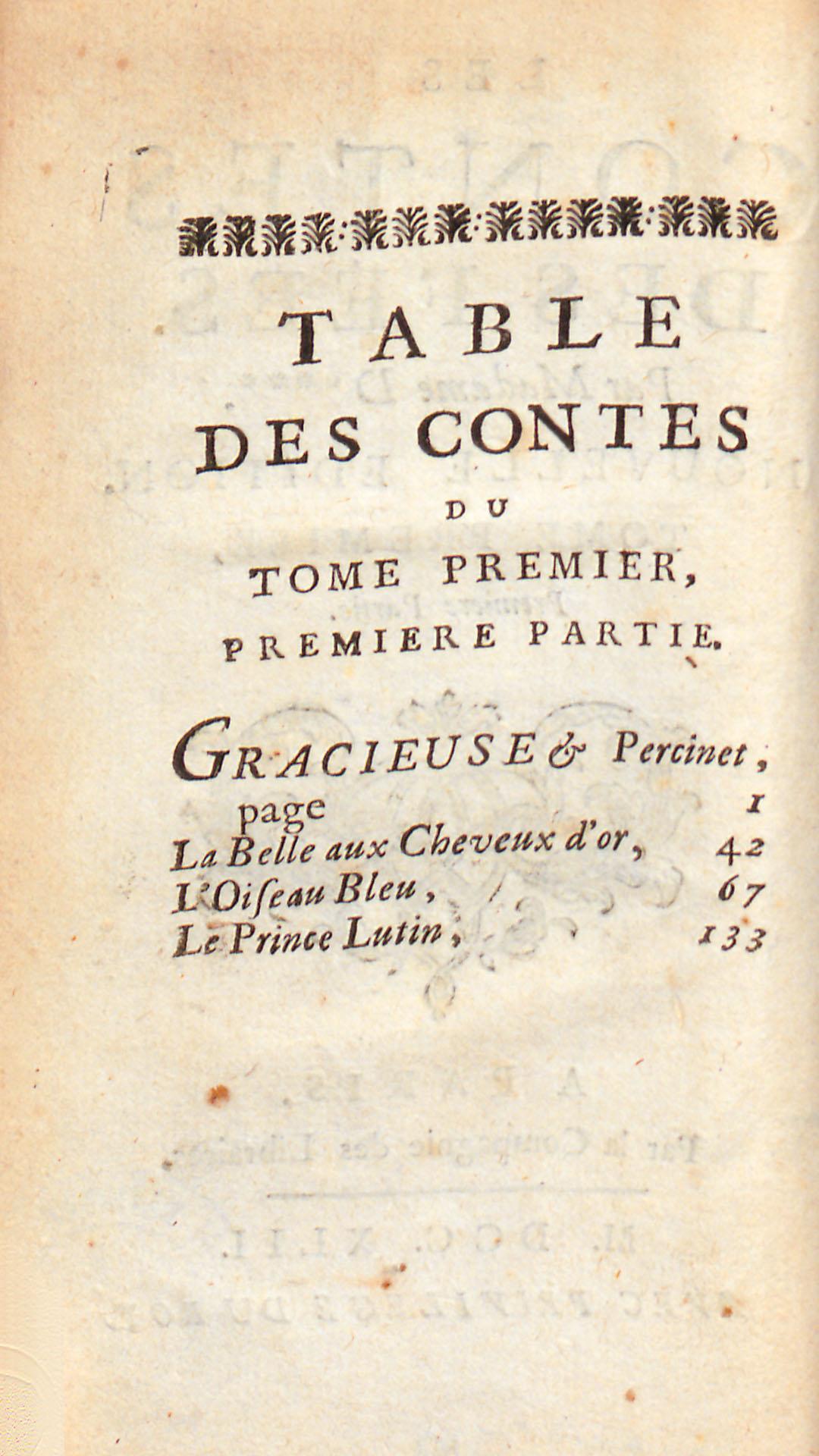Table des contes, tome premier, première partie