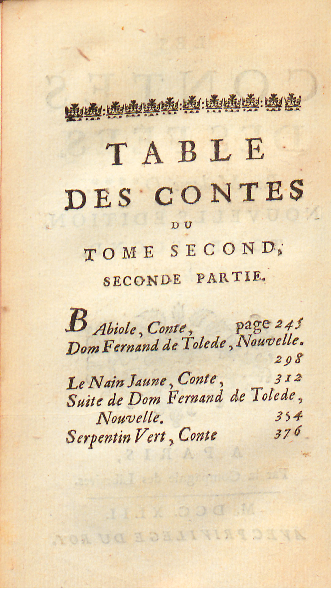 Table des contes, tome second, seconde partie