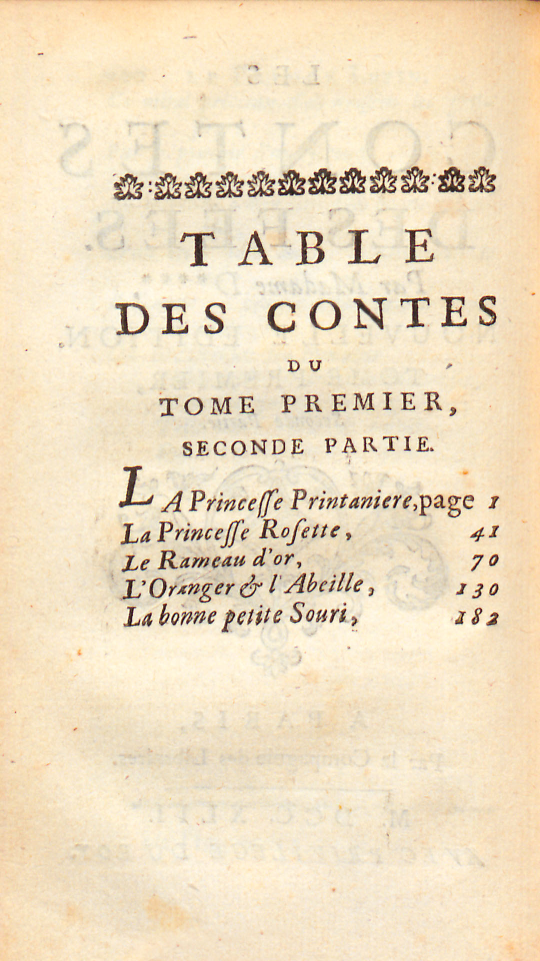 Table des contes, tome premier, seconde partie