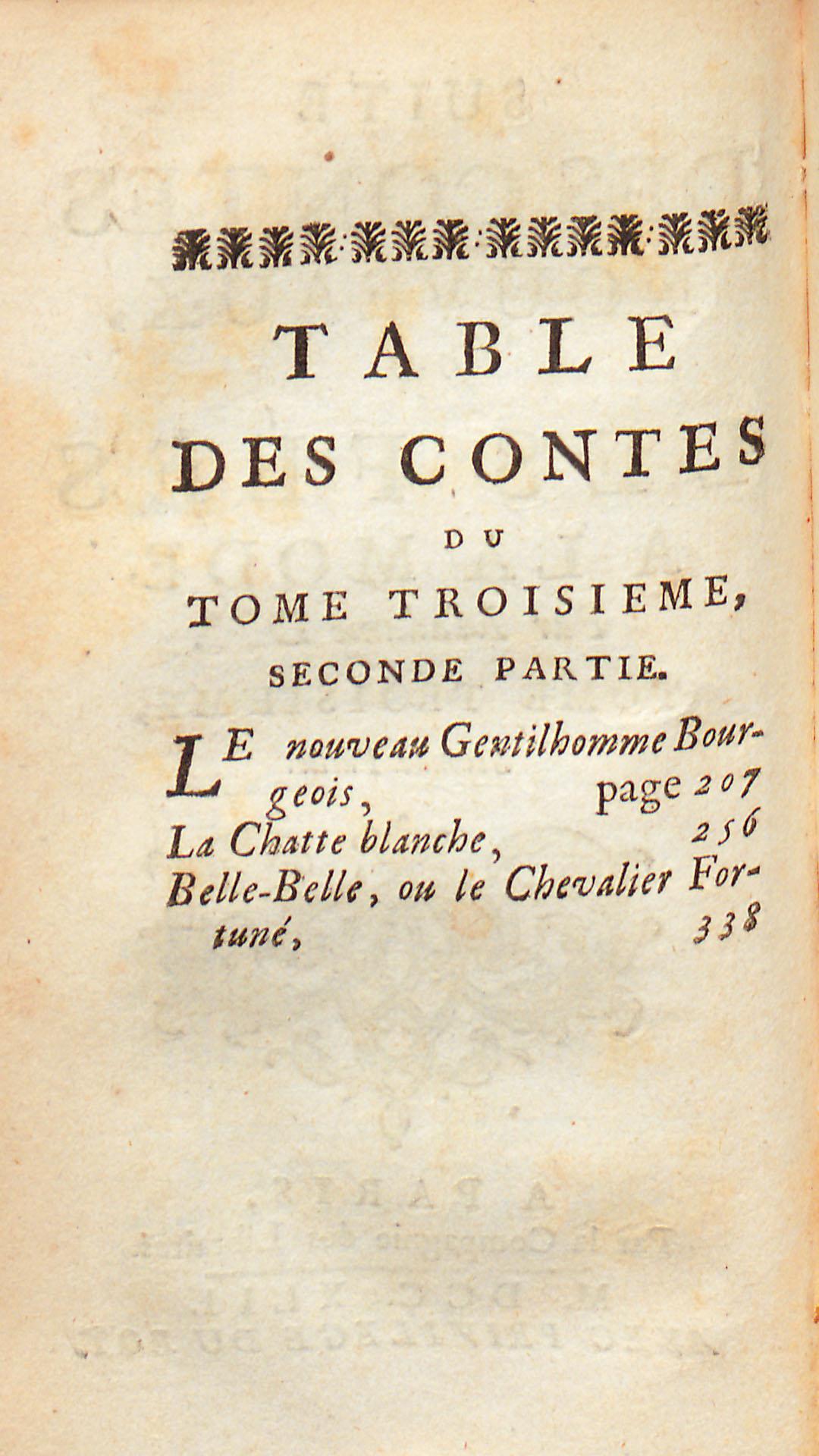 Table des contes, tome troisième, seconde partie