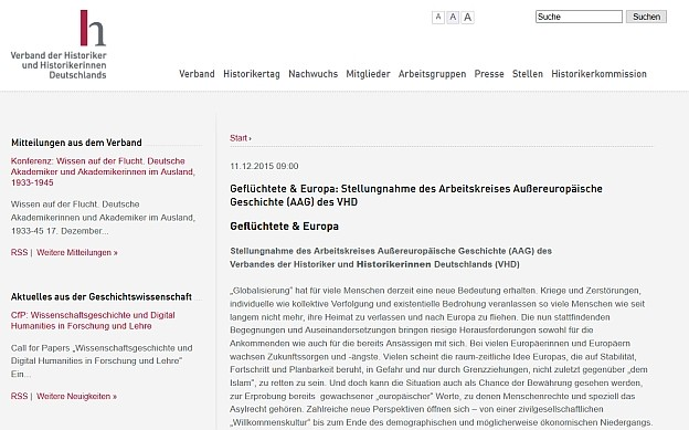 Geflüchtete & Europa: Stellungnahme des Arbeitskreises Außereuropäische Geschichte (AAG) des VHD