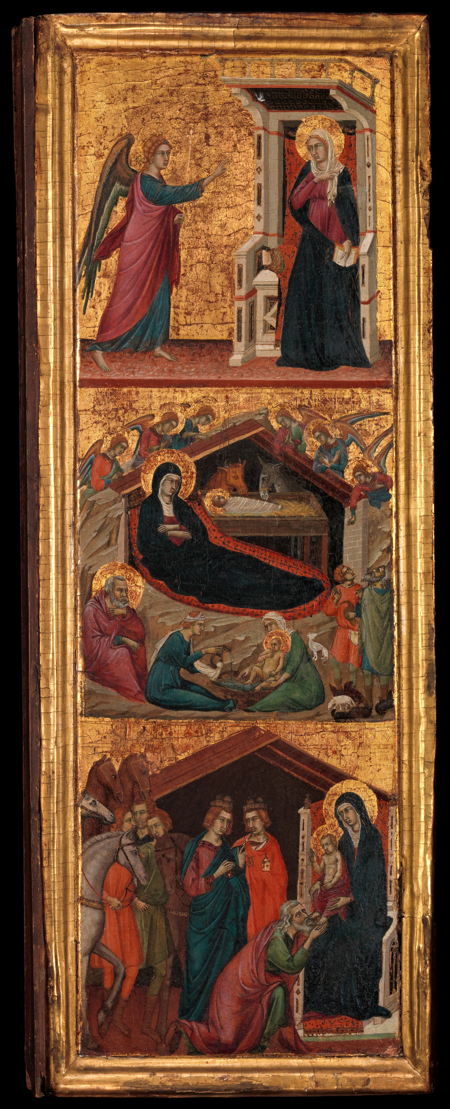 Master of Monte Oliveto (Italian, active Siena ca. 1305–35) Saints and Scenes from the Life of the Virgin, ca. 1320 Tempera on wood, gold ground; Left wing, overall, with engaged frame, 25 1/4 x 9 1/4 in. (64.1 x 23.5 cm), painted surface 23 3/8 x 7 1/2 in. (59.4 x 19.1 cm); right wing, overall, with engaged frame, 25 1/8 x 9 3/8 in. (63.8 x 23.8 cm), painted surface 23 1/2 x 7 1/2 in. (59.7 x 19.1 cm) The Metropolitan Museum of Art, New York, Bequest of George Blumenthal, 1941 (41.190.31bc) http://www.metmuseum.org/Collections/search-the-collections/437018