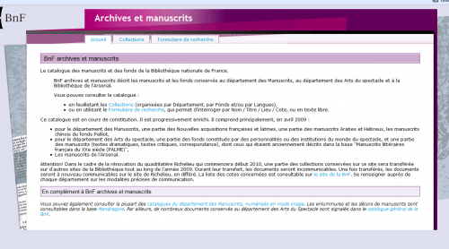 "Der Katalog ""Archives et manuscrits"" der BnF"