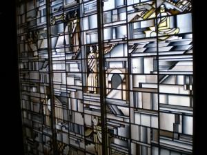 Vidriera alegórica de las Humanidades en la Facultad de Filosofía y Letras de la Universidad de Madrid