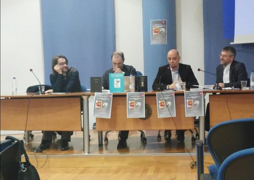 Un momento del debate celebrado. De izquierda a derecha, Jesús Ponce Cárdenas, Pedro Conde Parrado, Juan Antonio González Iglesias y Francisco García Jurado. Fotografía de Carlos Mariscal de Gante
