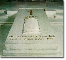 El sepulcro de Goya, con la inscripción latina traída desde Burdeos, donde estaba originariamente la tumba
