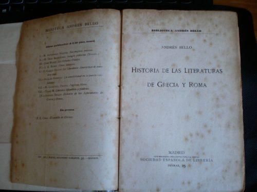 Ejemplar de la Historia de las literaturas de Grecia y Roma escrito por Andrés Bello