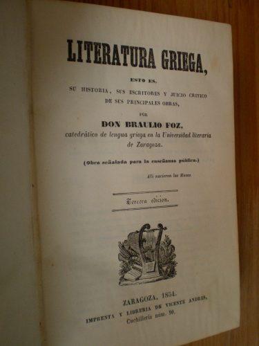Tercera edición de la Literatura Griega de Braulio Foz