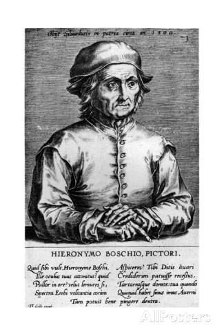 Un representación humanística de El Bosco: el grabado que de su supuesto retrato llevó a cabo Cornelis Cort, fechado en 1572, es decir, 56 años más tarde de la muerte del pintor.