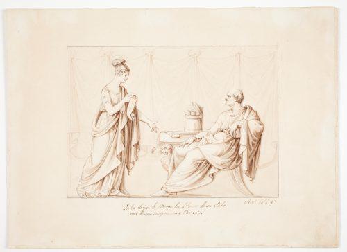 Tulia, hija de Cicerón, lee delante de su padre una de sus composiciones literarias SOLÁ, ANTONIO Copyright de la imagen ©Museo Nacional del Prado
