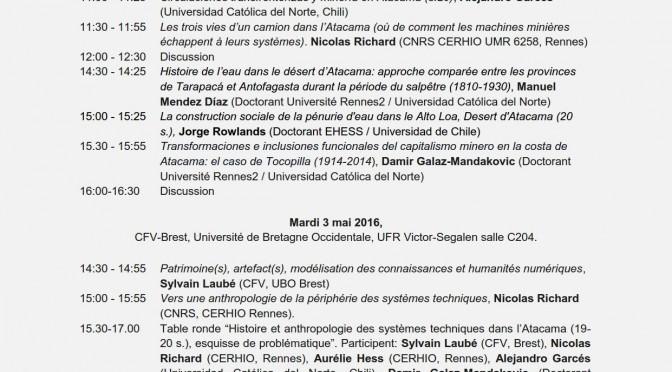Séminaire de recherche (LIA) «Mines dans l'Atacama» Rennes – Brest 2-4 mai 2016