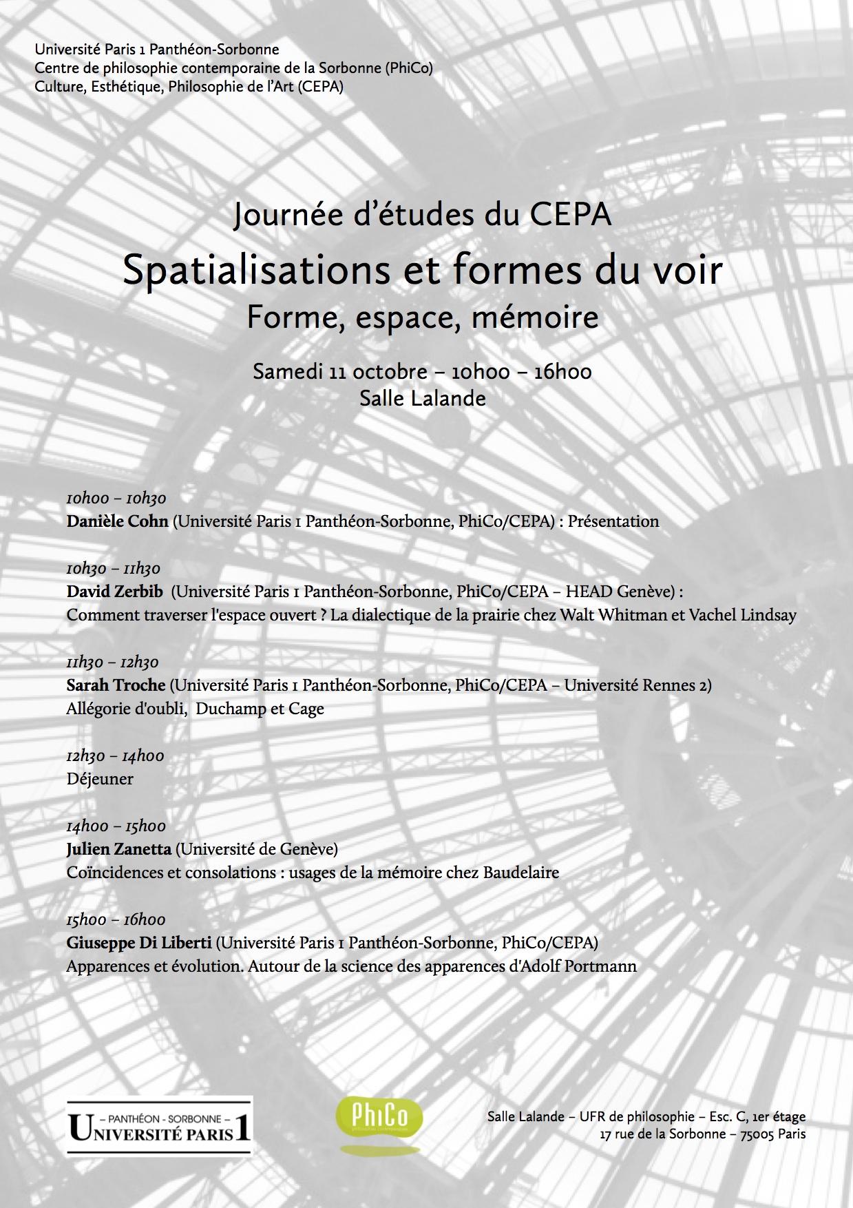 Journée d'études du CEPA - octobre