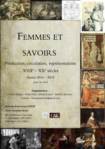 "New seminar in Paris: ""Femmes et savoirs : productions, circulation, représentations (XVIIe  XXe siècles)"""