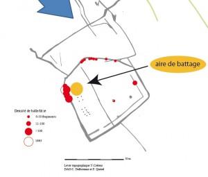 Aire de battage (La Haute Borne, Villeneuve d'Ascq, Nord). Lever topographique:Y.Créteur DAO:C. Deflorenne et P. Quérel