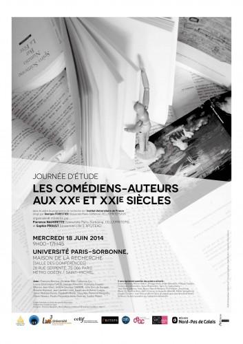 PROGRAMME JE COMEDIENS-AUTEURS aux XXe-XXIe siècles. 18 juin 2014. IUF. Paris-Sorbonne.  APC.Lille 3. Naugrette et Proust_Page_1