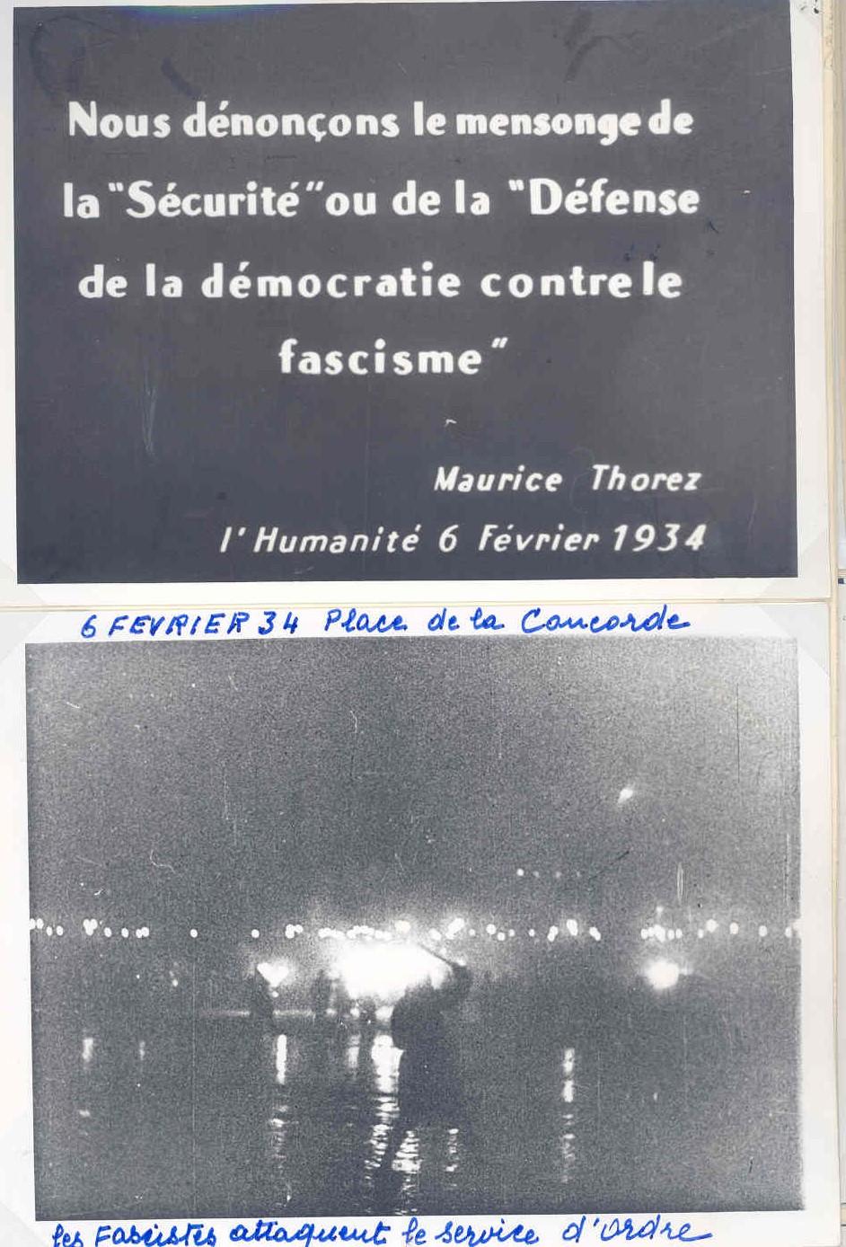 Pivert 6 février 1934 et citation de Thorez
