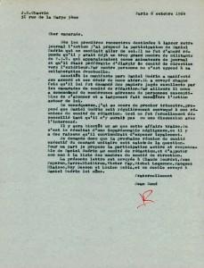 Lettre Chauvin comité rédaction l'Action Daniel Guérin 1