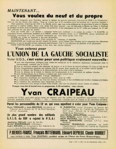 Affiche Yvan Craipeau UGS  1958  verso