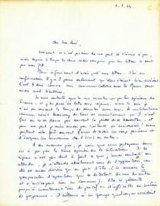 Lettre Eliane de Serres (3) 1er janvier 64 recto