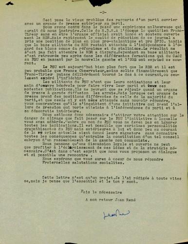 Lettre de Chauvin à Calvès PSU France Observateur verso