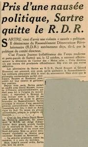 Sartre a la nausée du R.D.R. octobre 1949