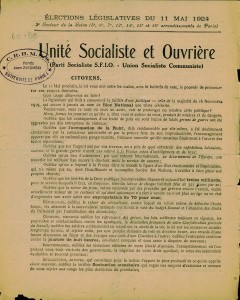 Elections legislatives 11 mai 1924 - tract cartel des gauche page 1