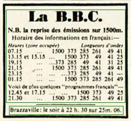 Horaires BBC TSF 1942