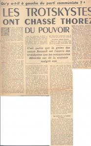 1947 article FT les Trotskystes ont chassé Thorez du pouvoir