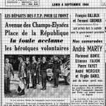 4 septembre 1944 Fernand Grenier- François Billoux l'Huma